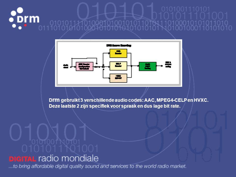 Drm gebruikt 3 verschillende audio codes: AAC, MPEG4-CELP en HVXC