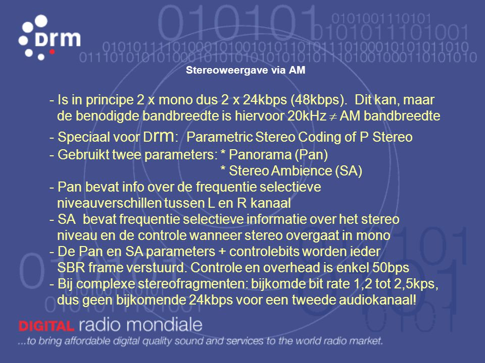Speciaal voor Drm: Parametric Stereo Coding of P Stereo
