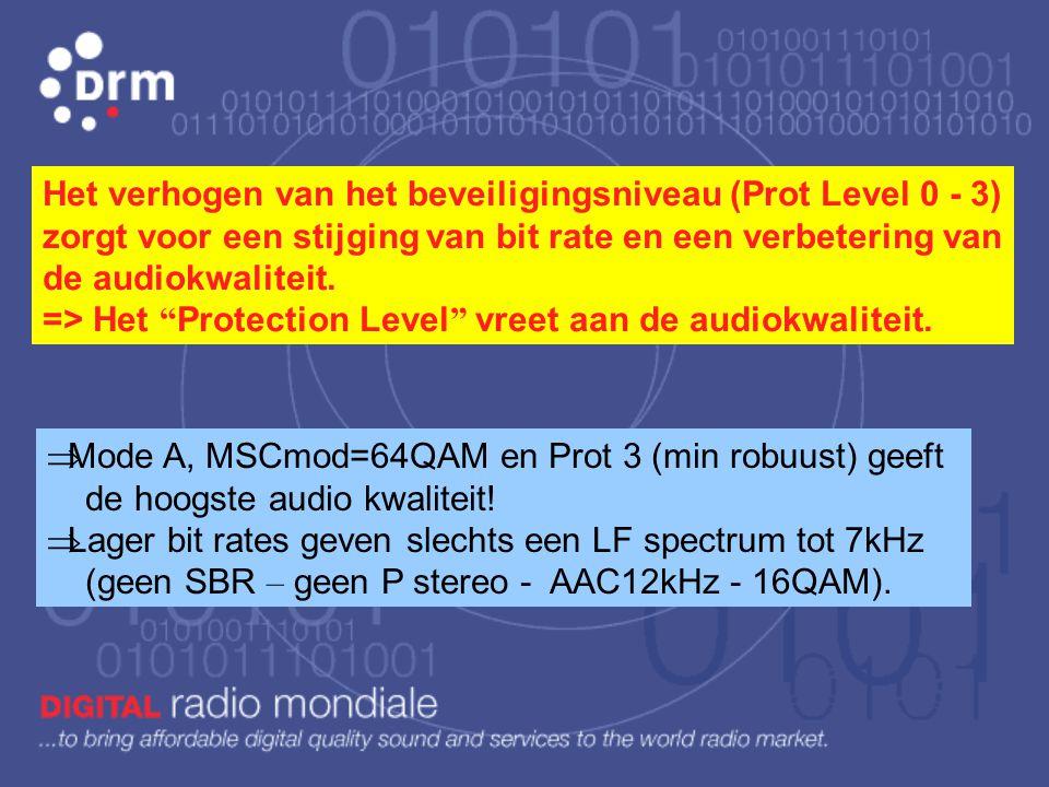 Het verhogen van het beveiligingsniveau (Prot Level 0 - 3) zorgt voor een stijging van bit rate en een verbetering van de audiokwaliteit. => Het Protection Level vreet aan de audiokwaliteit.
