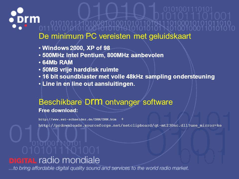 De minimum PC vereisten met geluidskaart