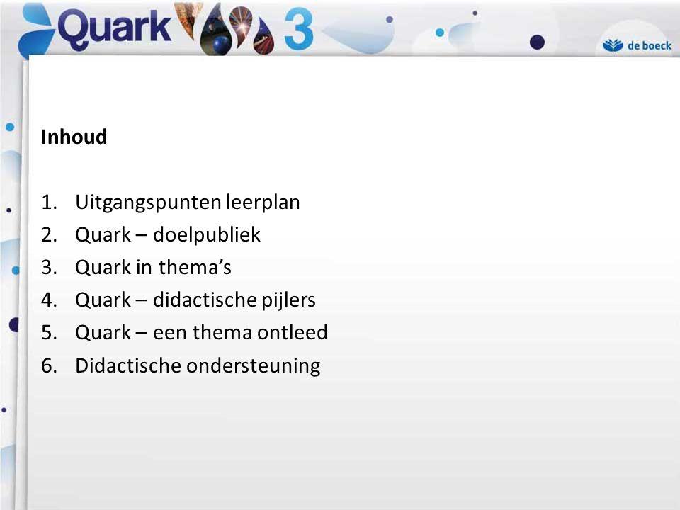 Inhoud Uitgangspunten leerplan. Quark – doelpubliek. Quark in thema's. Quark – didactische pijlers.