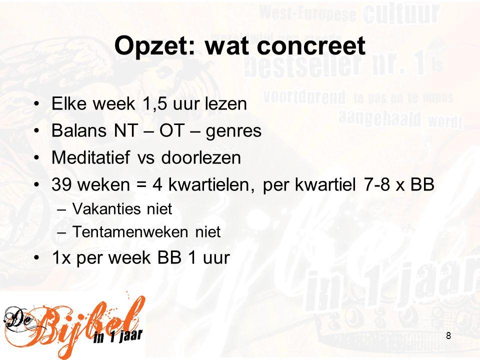 Opzet: wat concreet Elke week 1,5 uur lezen Balans NT – OT – genres