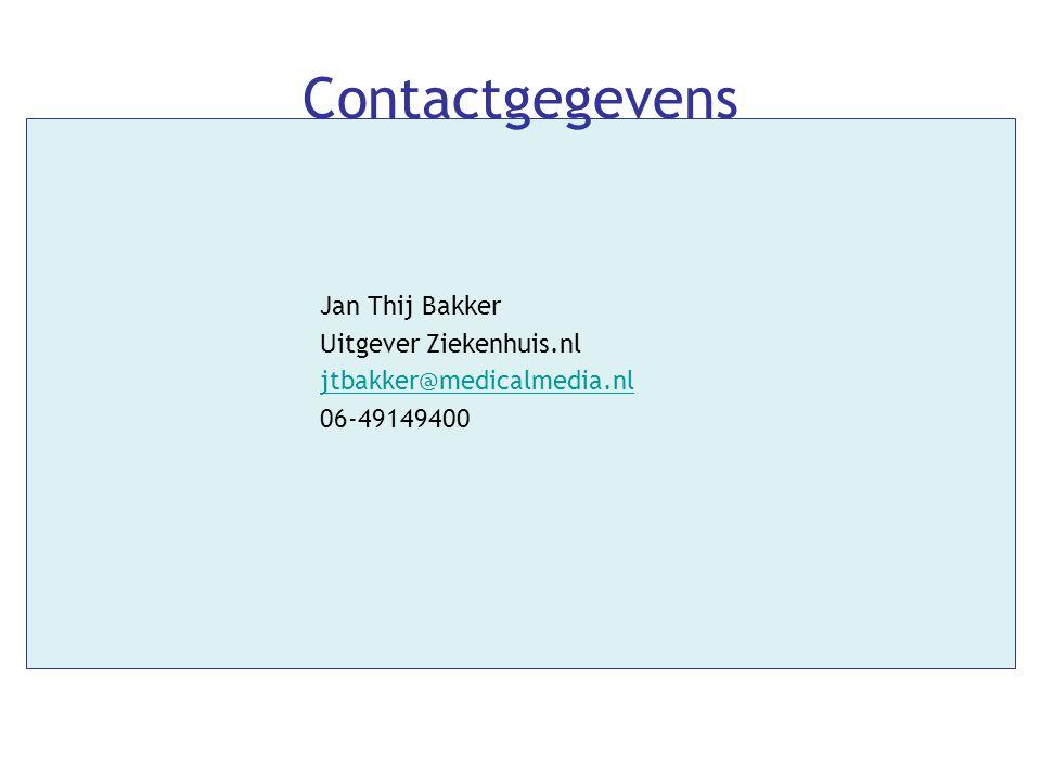 Contactgegevens Jan Thij Bakker Uitgever Ziekenhuis.nl