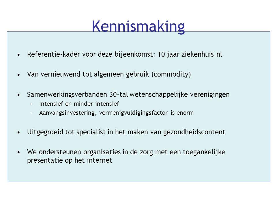 Kennismaking Referentie-kader voor deze bijeenkomst: 10 jaar ziekenhuis.nl. Van vernieuwend tot algemeen gebruik (commodity)