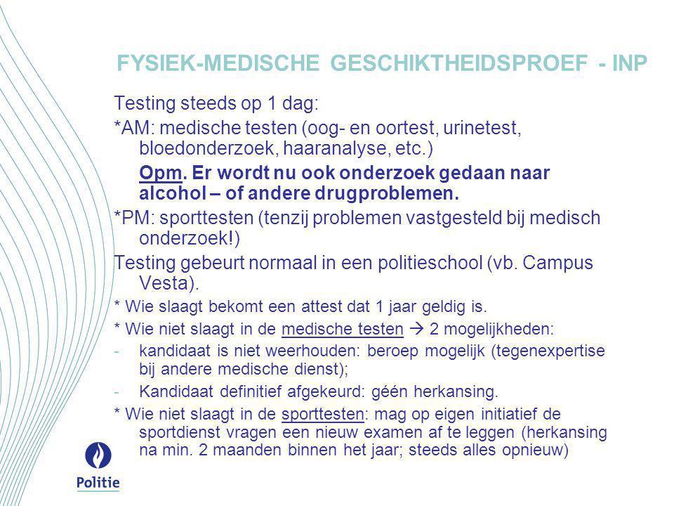 FYSIEK-MEDISCHE GESCHIKTHEIDSPROEF - INP