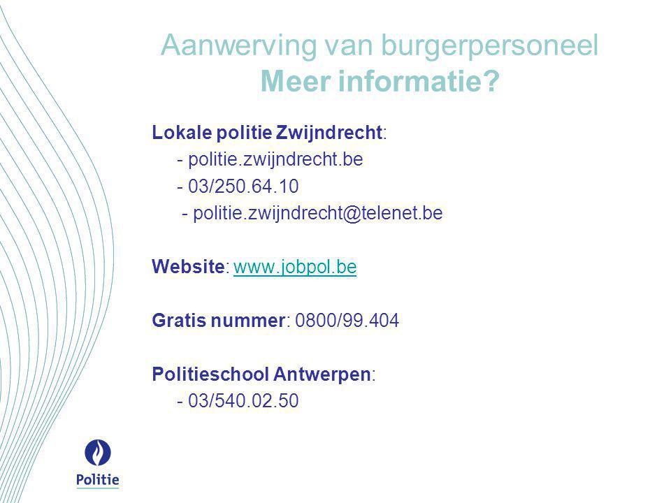 Aanwerving van burgerpersoneel Meer informatie