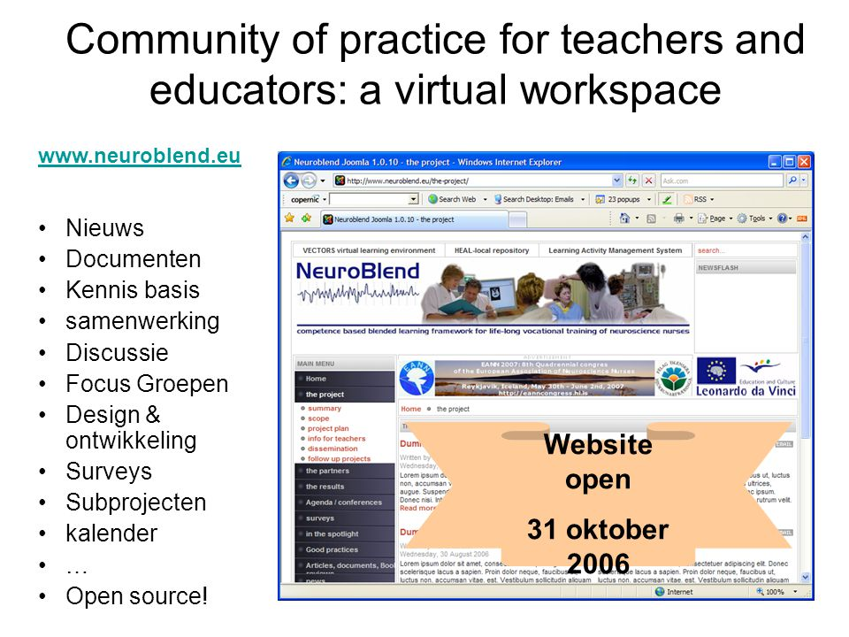 Community of practice for teachers and educators: a virtual workspace
