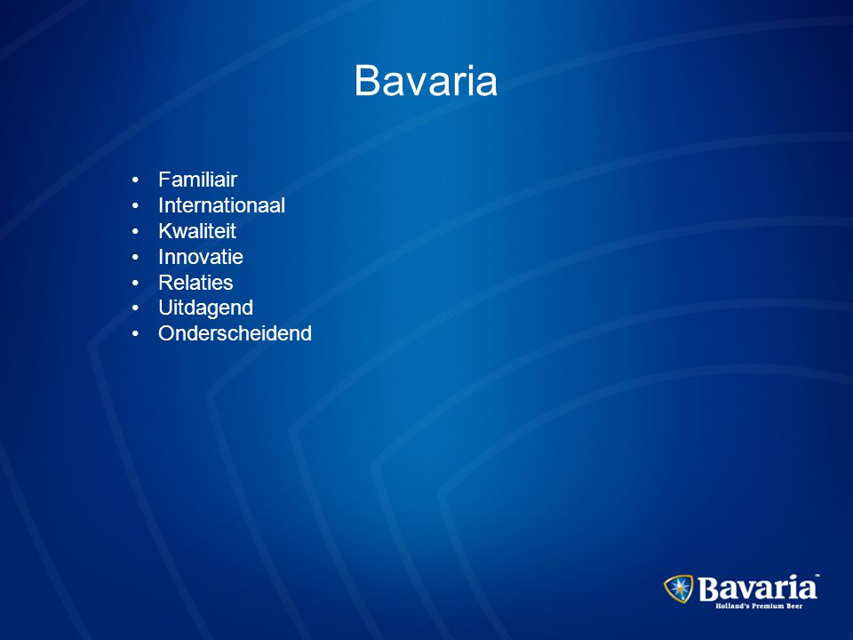 Bavaria Familiair Internationaal Kwaliteit Innovatie Relaties
