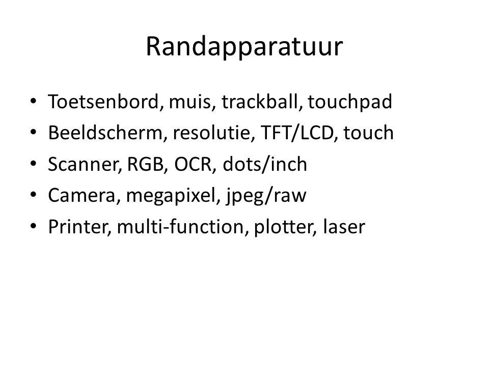 Randapparatuur Toetsenbord, muis, trackball, touchpad