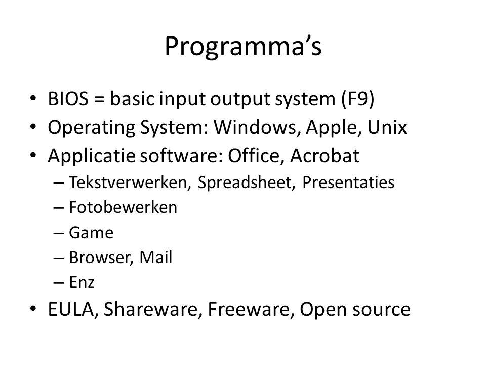 Programma's BIOS = basic input output system (F9)