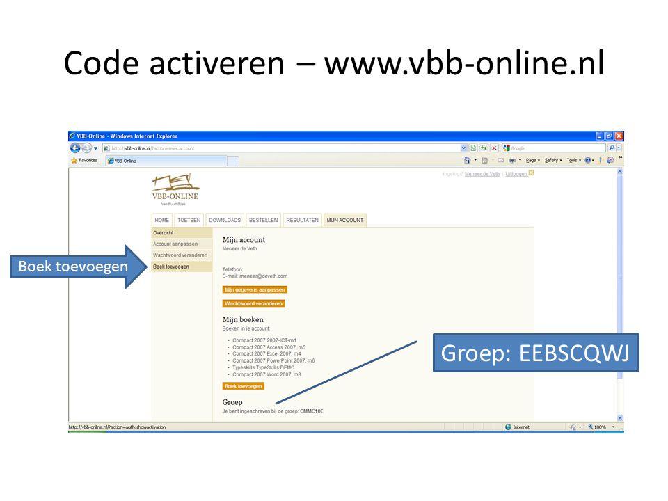 Code activeren – www.vbb-online.nl