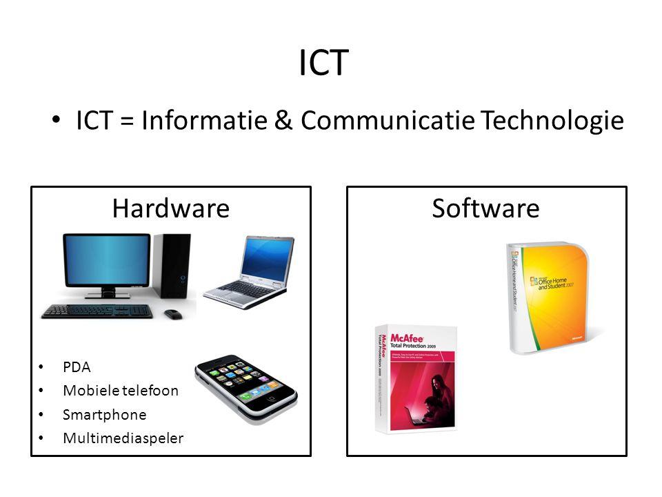 ICT ICT = Informatie & Communicatie Technologie Hardware Software PDA