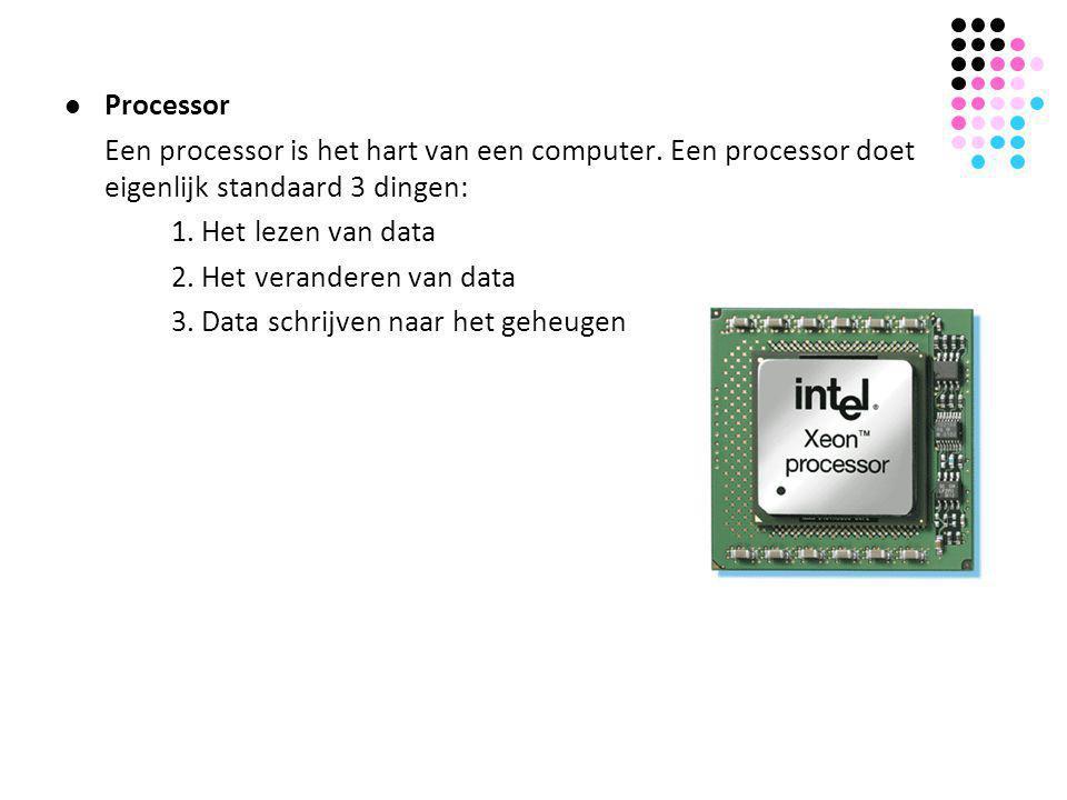 Processor Een processor is het hart van een computer. Een processor doet eigenlijk standaard 3 dingen: