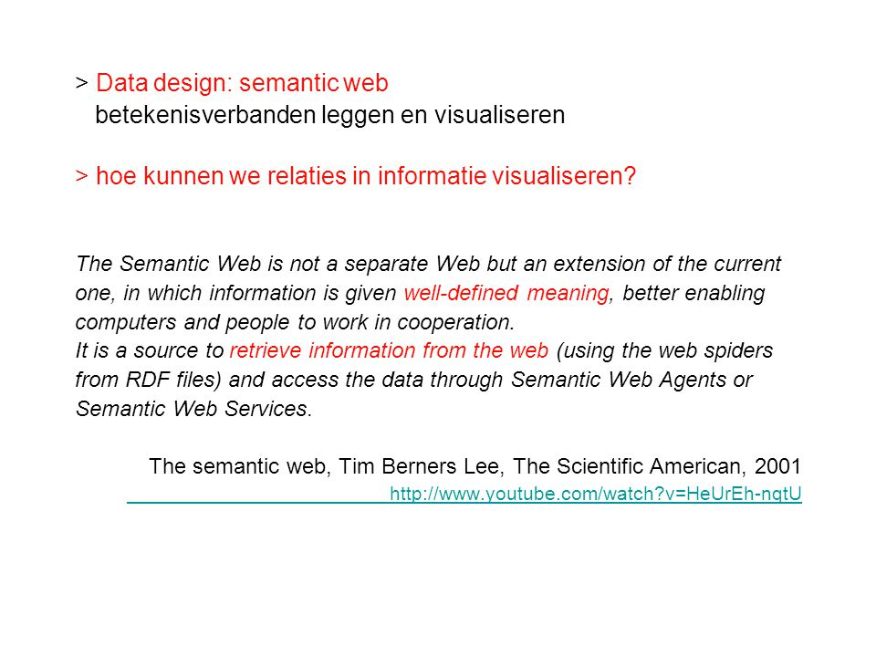 > Data design: semantic web
