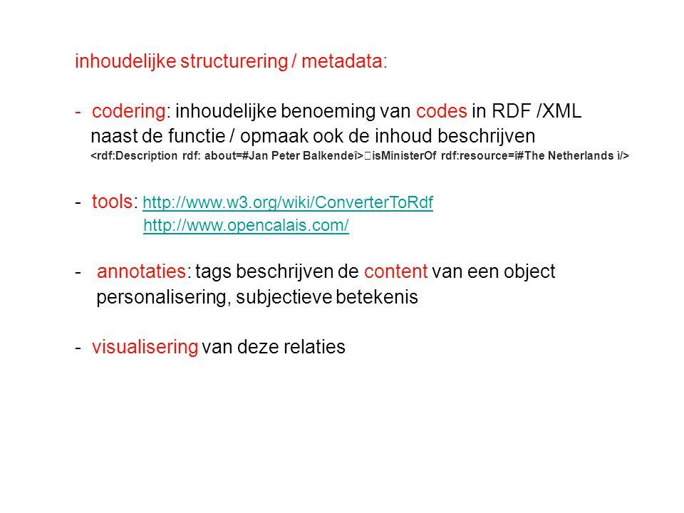 inhoudelijke structurering / metadata: