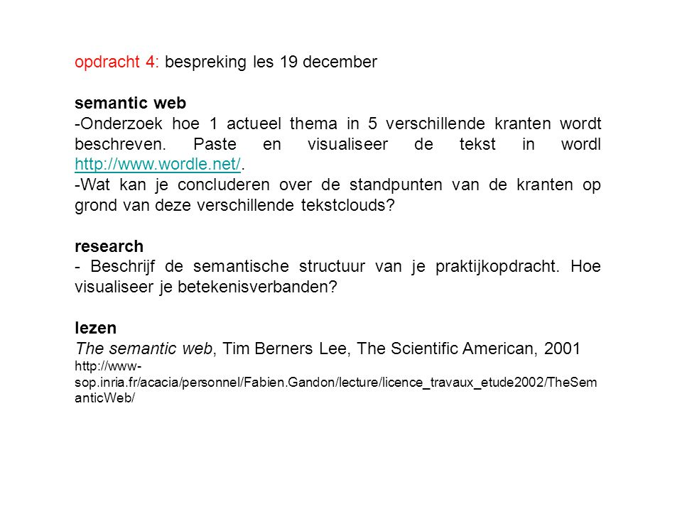 opdracht 4: bespreking les 19 december semantic web