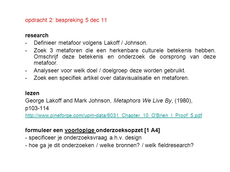 opdracht 2: bespreking 5 dec 11 research