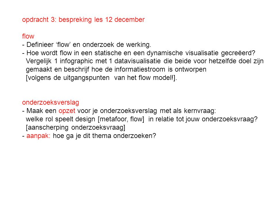 opdracht 3: bespreking les 12 december
