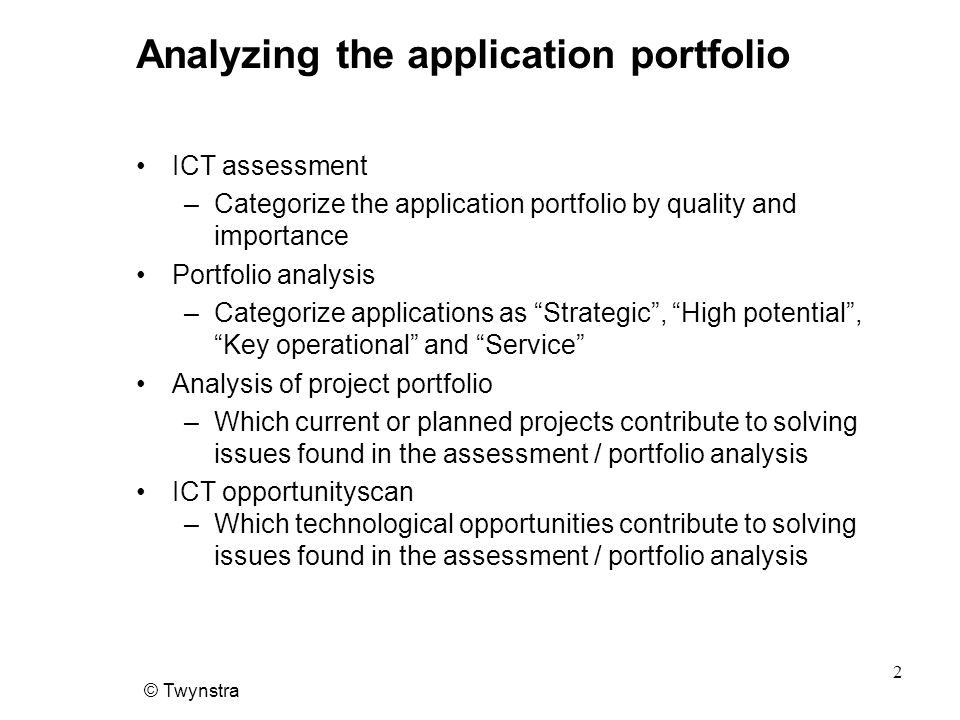 Analyzing the application portfolio