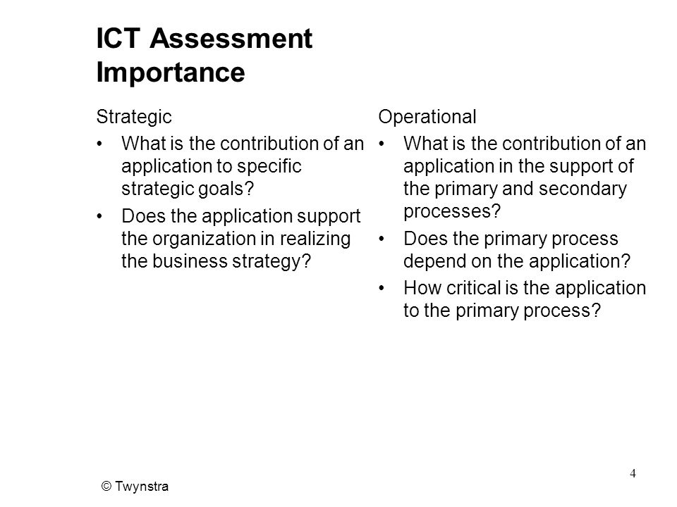 ICT Assessment Importance