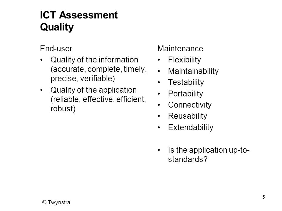 ICT Assessment Quality