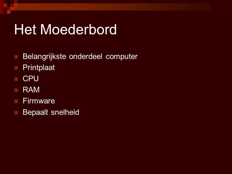 Het Moederbord Belangrijkste onderdeel computer Printplaat CPU RAM