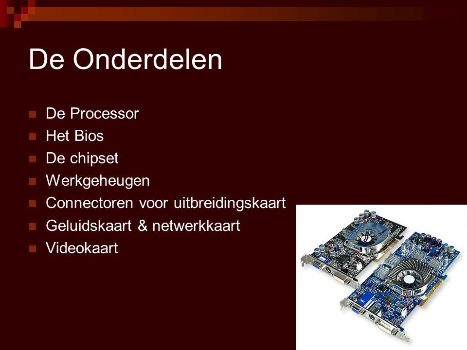 De Onderdelen De Processor Het Bios De chipset Werkgeheugen