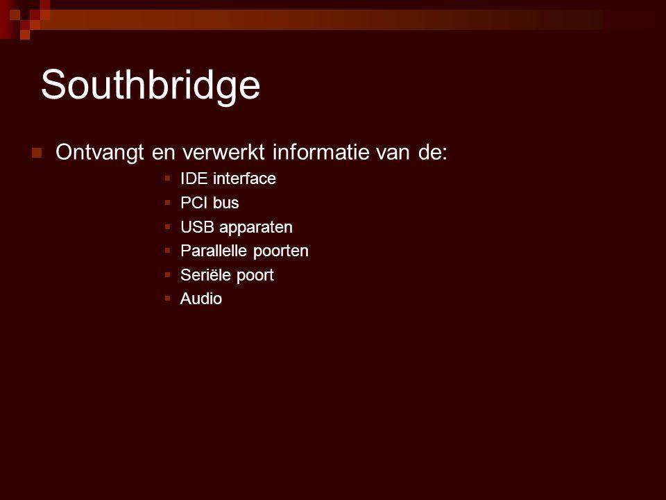 Southbridge Ontvangt en verwerkt informatie van de: IDE interface
