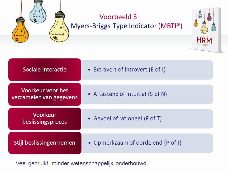 Voorbeeld 3 Myers-Briggs Type Indicator (MBTI®)