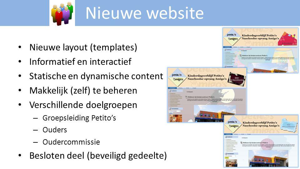 Nieuwe website Nieuwe layout (templates) Informatief en interactief