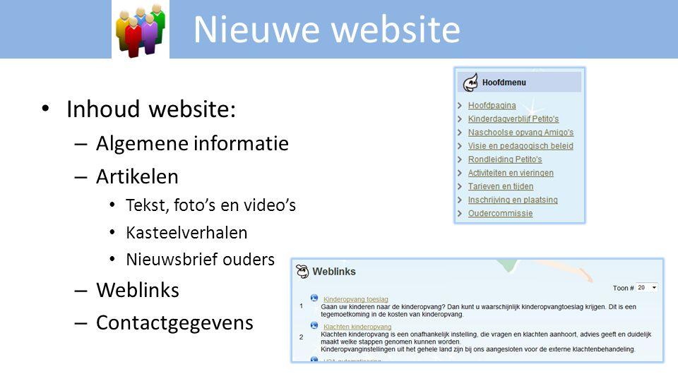Nieuwe website Inhoud website: Algemene informatie Artikelen Weblinks