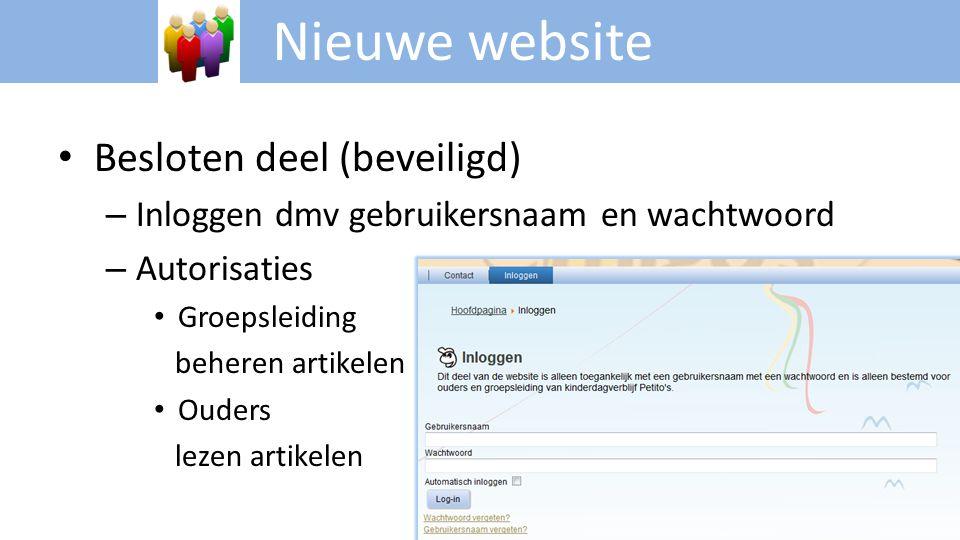 Nieuwe website Besloten deel (beveiligd)