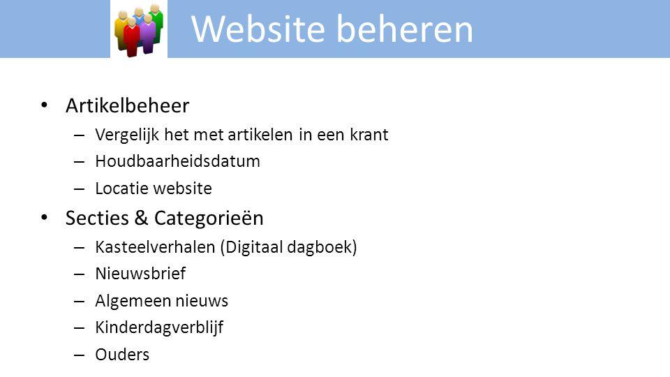 Website beheren Artikelbeheer Secties & Categorieën