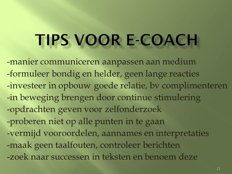 Tips voor e-coach -manier communiceren aanpassen aan medium