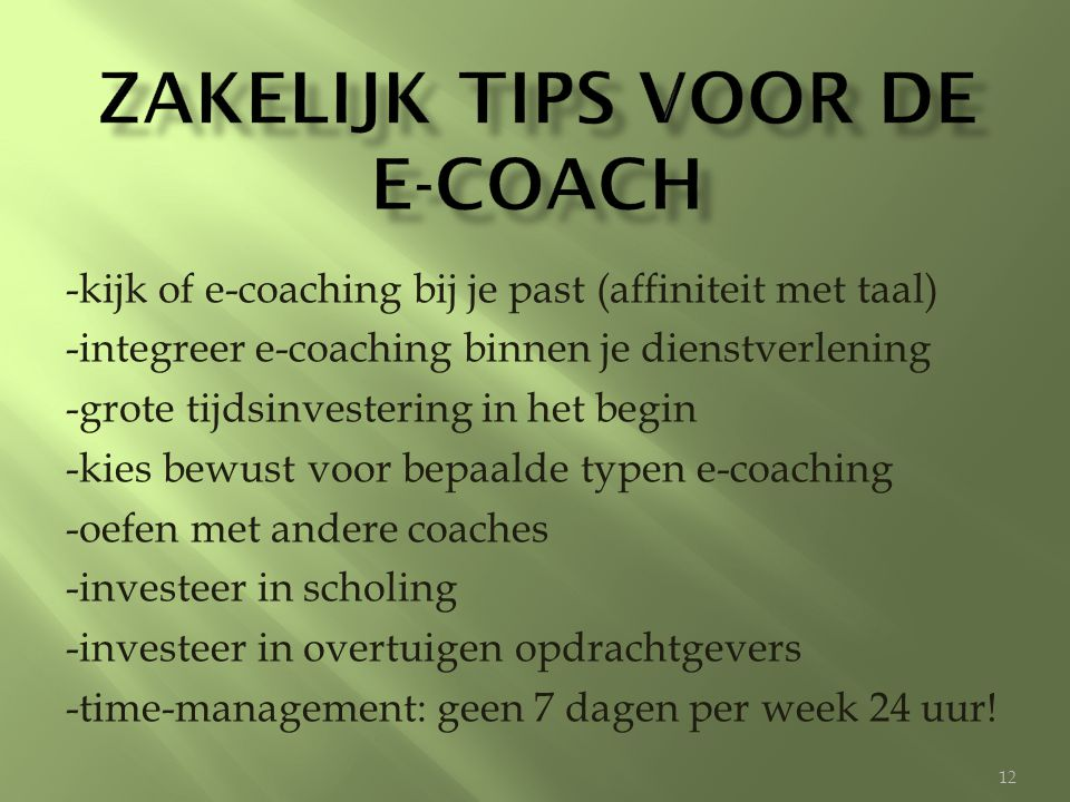 Zakelijk tips voor de e-coach