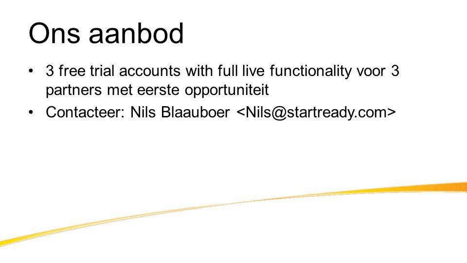 Ons aanbod 3 free trial accounts with full live functionality voor 3 partners met eerste opportuniteit.