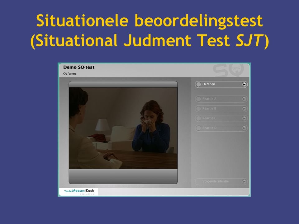 Situationele beoordelingstest (Situational Judment Test SJT)