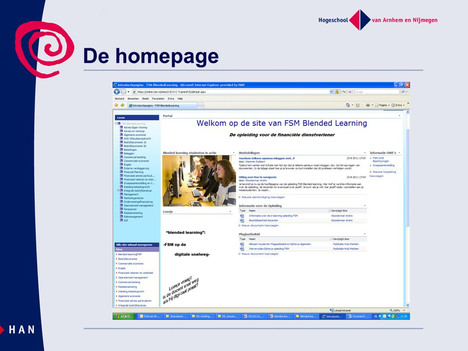 De homepage