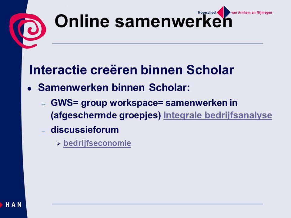 Interactie creëren binnen Scholar