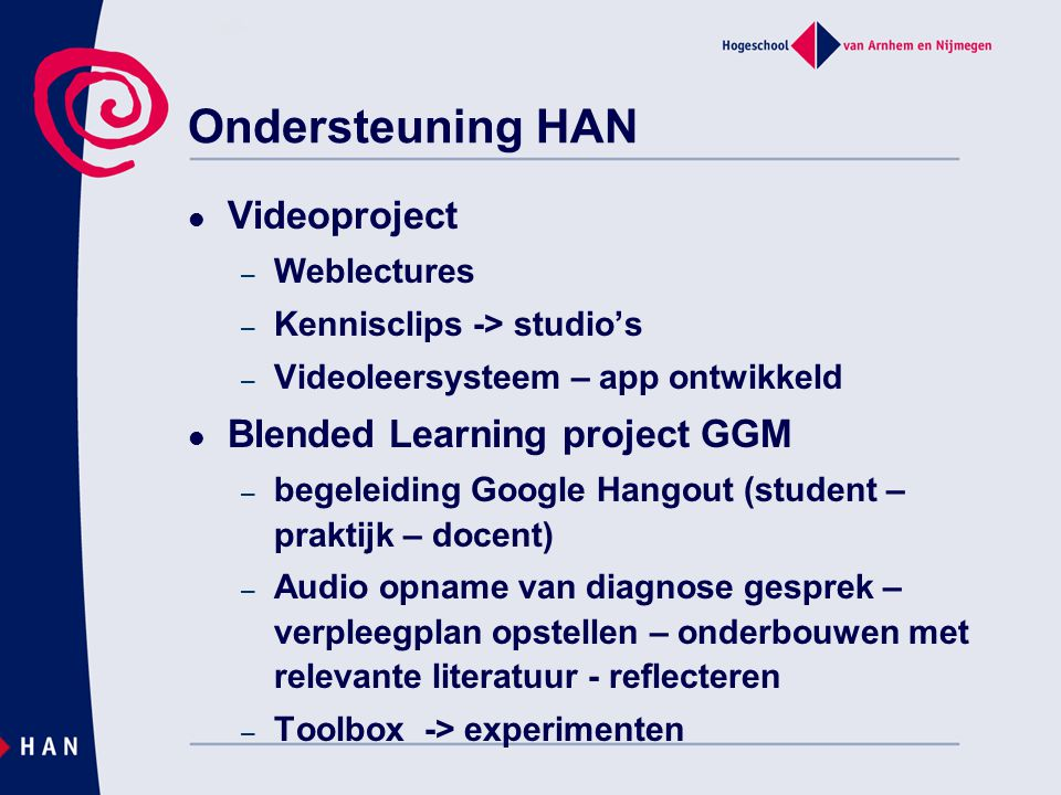 Ondersteuning HAN Videoproject Blended Learning project GGM