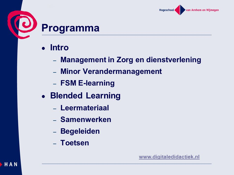 Programma Intro Blended Learning Management in Zorg en dienstverlening