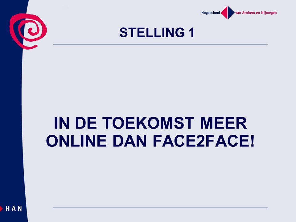 IN DE TOEKOMST MEER ONLINE DAN FACE2FACE!