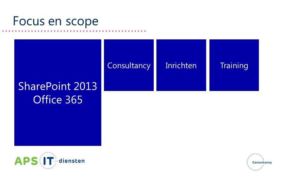 Focus en scope SharePoint 2013 Office 365 Consultancy Inrichten