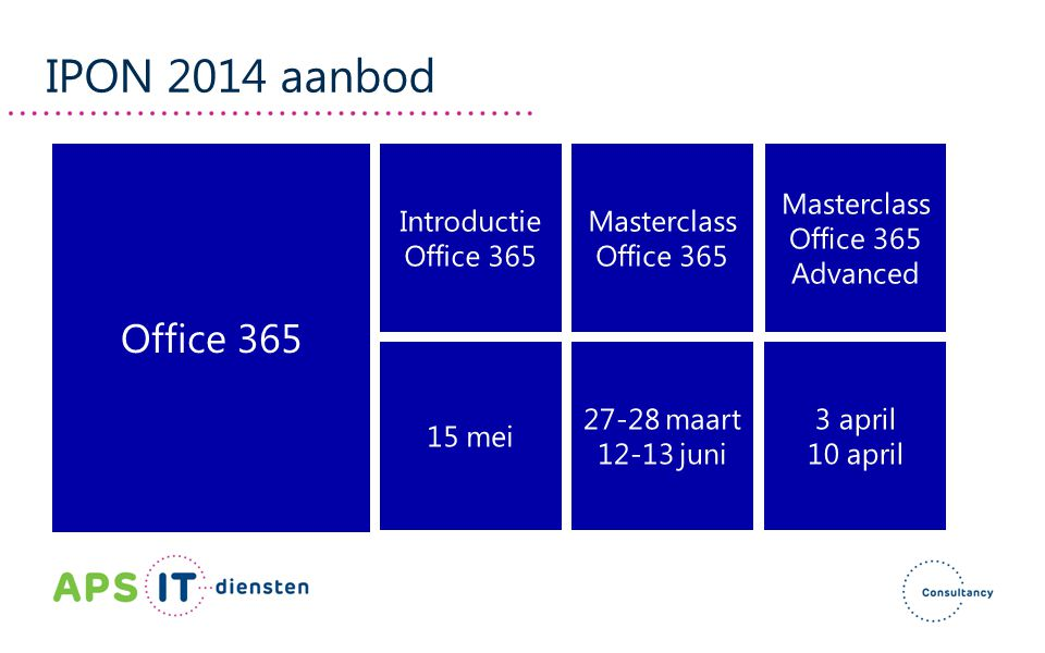 IPON 2014 aanbod Office 365 Introductie Office 365 Masterclass