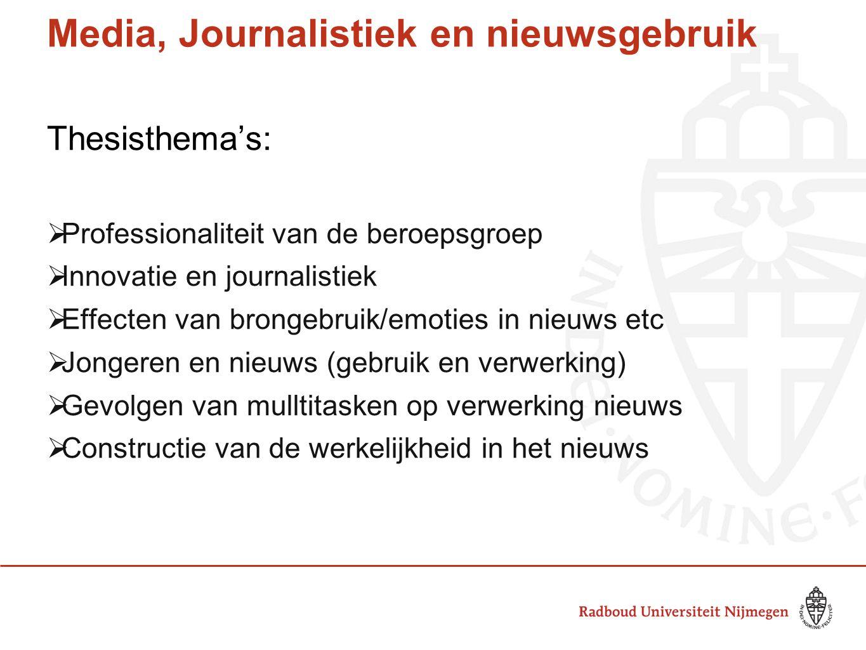 Media, Journalistiek en nieuwsgebruik