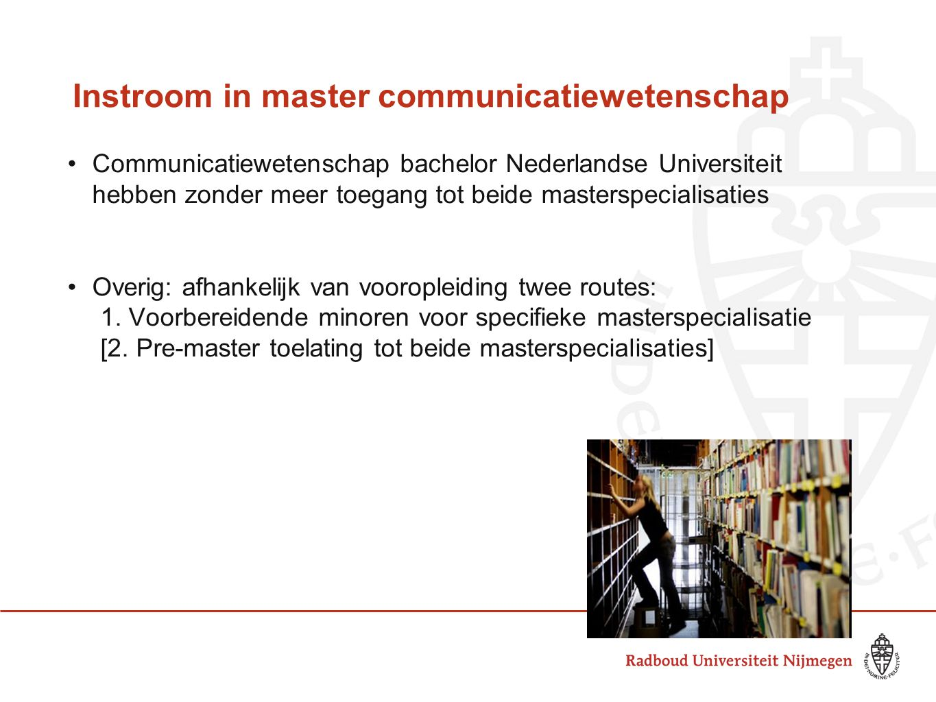 Instroom in master communicatiewetenschap
