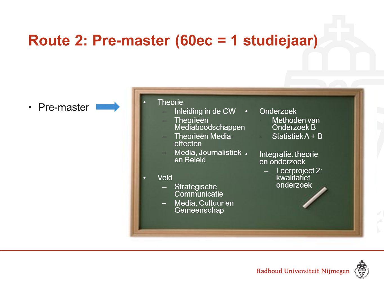 Route 2: Pre-master (60ec = 1 studiejaar)