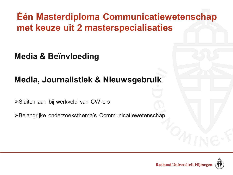 Één Masterdiploma Communicatiewetenschap met keuze uit 2 masterspecialisaties