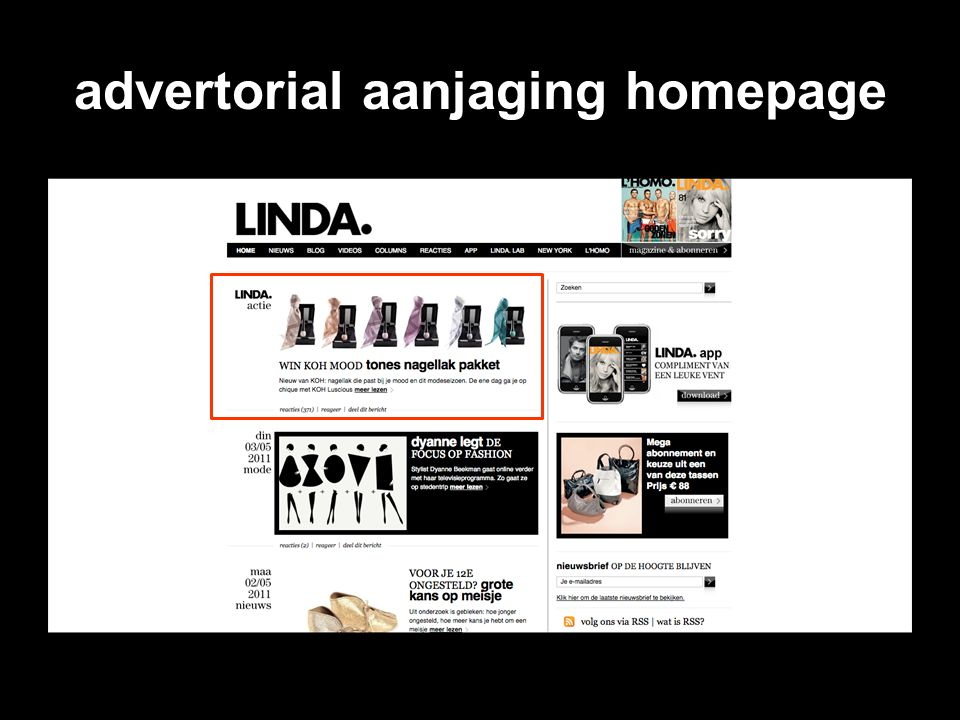 advertorial aanjaging homepage