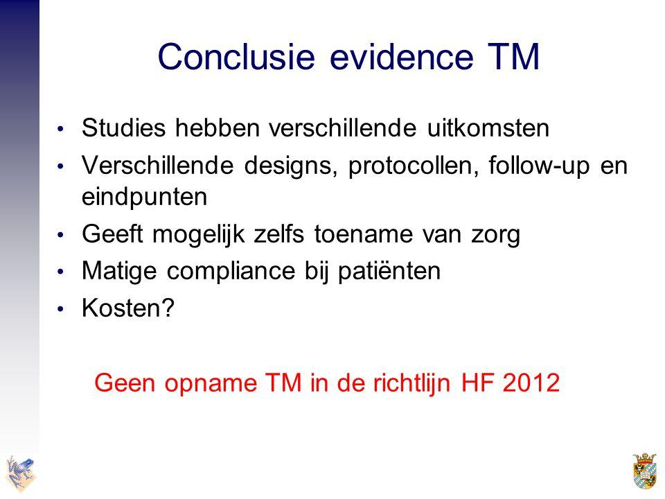 Conclusie evidence TM Studies hebben verschillende uitkomsten